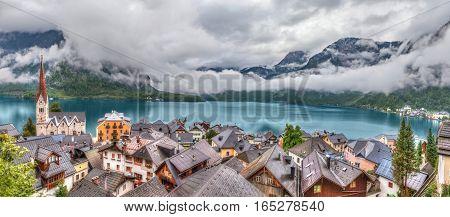 Panorama of Hallstatt village made from upper observation point Austria