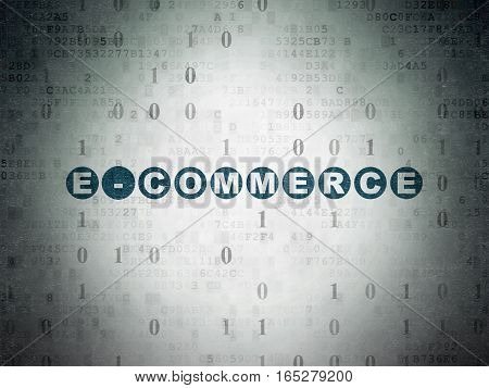 Business concept: Painted blue text E-commerce on Digital Data Paper background with Binary Code