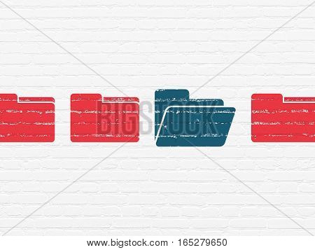 Business concept: row of Painted red folder icons around blue folder icon on White Brick wall background