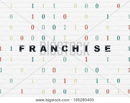 Business concept: Painted black text Franchise on White Brick wall background with Binary Code