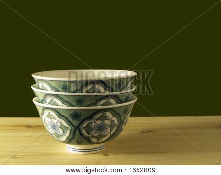 Three Bowls On The Wood