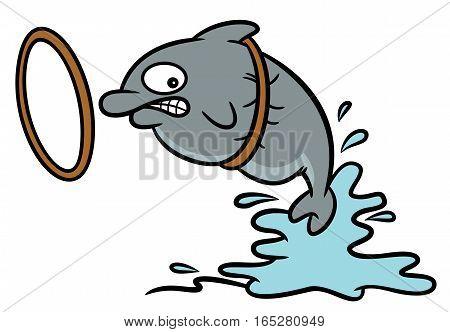 Fat Circus Dolphin Stuck on Hoop Cartoon Illustration
