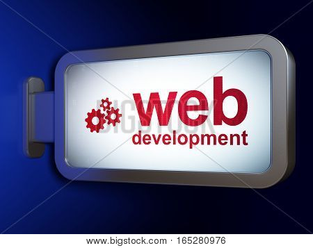 Web development concept: Web Development and Gears on advertising billboard background, 3D rendering
