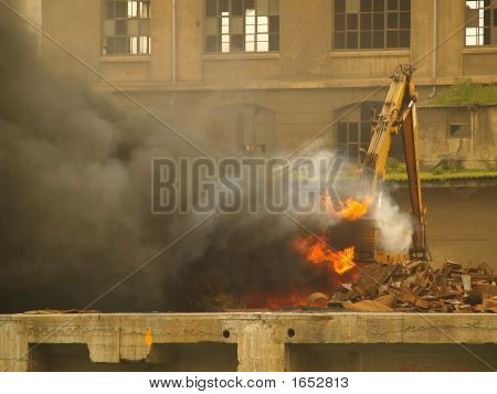 Accident, Crane On Fire