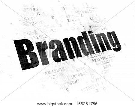 Marketing concept: Pixelated black text Branding on Digital background
