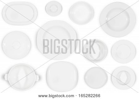 Variety of white plates of different sizes and shapes on white background directly from above