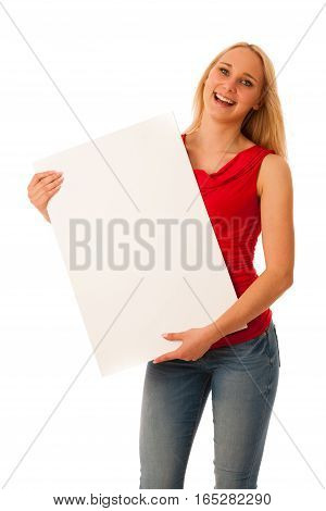 Cute Blond Woman With Blank White Banner In Her Hands Smiling Isolated Over White Background