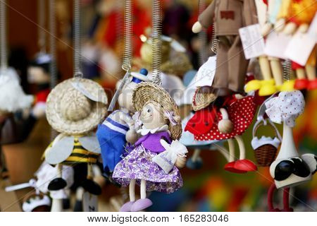 PRAGUE, CZECH REPUBLIC - MAY 29, 2016:  Various toys on market stall  Old Town of  Prague.  Shallow depth of field