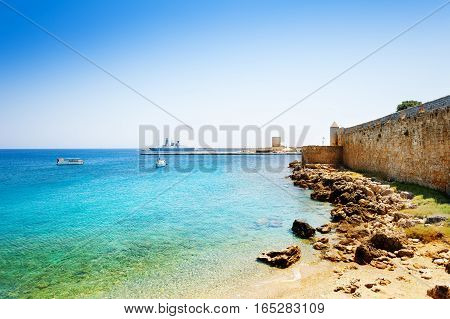 Beautiful view of Mandraki Harbor with yachts and ships, Rhodes Island, Greece