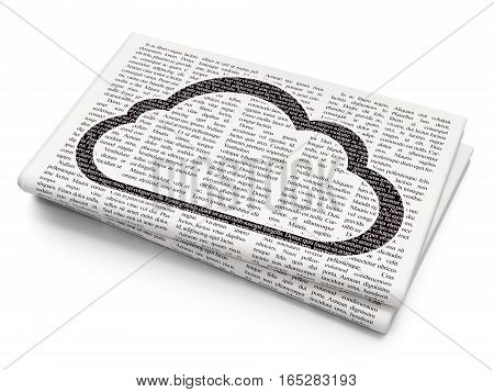 Cloud computing concept: Pixelated black Cloud icon on Newspaper background, 3D rendering