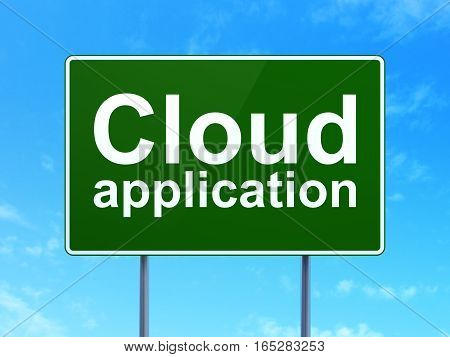 Cloud technology concept: Cloud Application on green road highway sign, clear blue sky background, 3D rendering