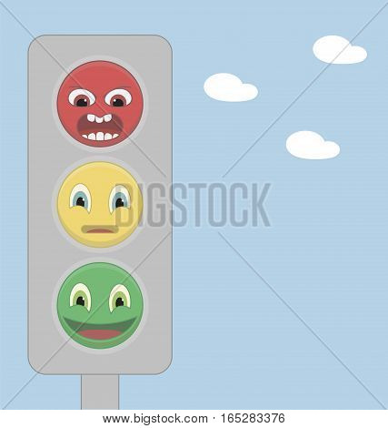 Traffic light of smiles on a background of blue sky with clouds