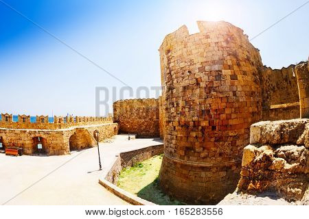 Defensive tower of the Grand Master Palace at sunny summer day, Rhodes Island, Greece