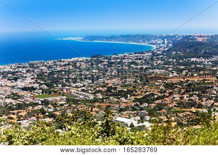 High angle view of Rhodes coastline at summer sunny day, Greece, Europe