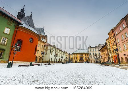 First Snow In A Small Market In Krakow, Poland