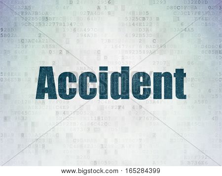 Insurance concept: Painted blue word Accident on Digital Data Paper background