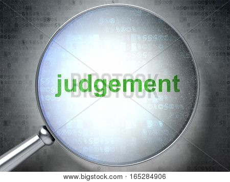 Law concept: magnifying optical glass with words Judgement on digital background, 3D rendering