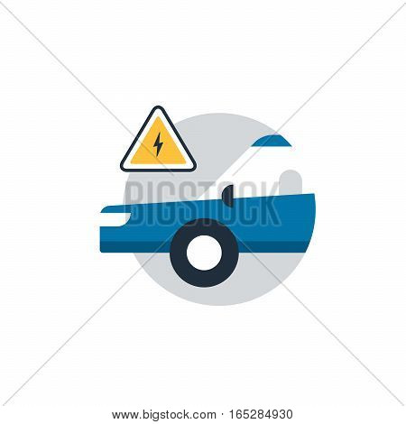Blue car in a circle with attantion sign. Auto car repair services, diagnostic concept, electrical failure. Flat design vector illustration