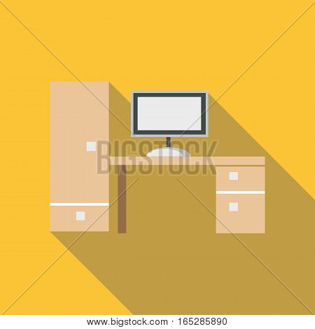 New desk icon. Flat illustration of new desk vector icon for web