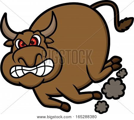 Angry Bull Cartoon Character Isolated on White