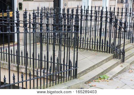 Typical Metal Fence In Edinburgh, Scotland