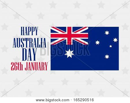 Happy Australia Day 26 January. Text With Australia Flag Pattern For Greeting Card. Vector Illustrat