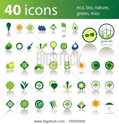 40 icons: eco, bio, nature, green, misc