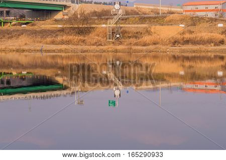 Landscape of river with reflections of surrounding structures in the water