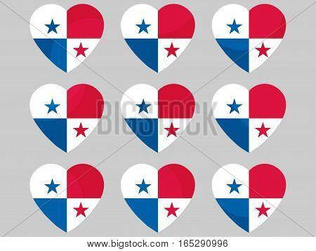 Heart With The Flag Of Panama. I Love Panama. Vector Illustration