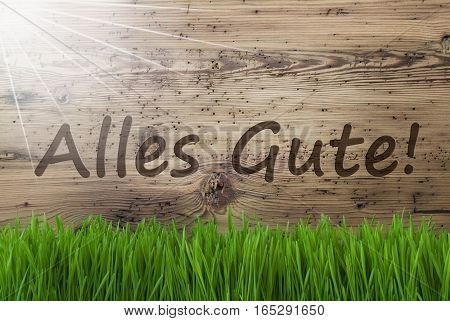 German Text Alles Gute Means Best Wishes. Spring Season Greeting Card. Sunny Aged Wooden Background With Gras.