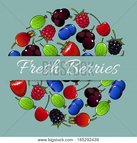 Berries and berry fruits round vector poster of fresh garden strawberry and cherry, forest raspberry and blueberry, black currant or redcurrant, juicy gooseberry and sweet blackberry. Ripe farm berry harvest