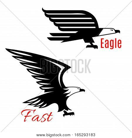 Black eagle vector icons set. Emblems of black flying falcons or hawks. Heraldic symbol of vulture of griffin predatory bird with open spread wings and sharp clutches for sport team mascot, military or security army shield, emblem or coat of arms