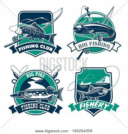 Fishing icons set. Fisherman club or fishery industry vector isolated badges and emblems with fish catch of carp, sheatfish on hook, fishing rods and baits with pike and crucian. Blue and green marine design