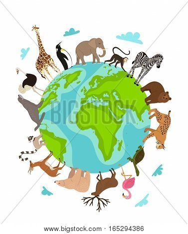 Wild animals around globe banner vector illustration. Animals planet concept, world continents fauna, world map with wild animals. Giraffe, elephant, monkey, zebra, bear, turtle, lynx in cartoon style