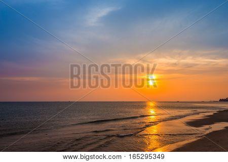 Sai Thong Beach With Sunset, Rayong, Thailand