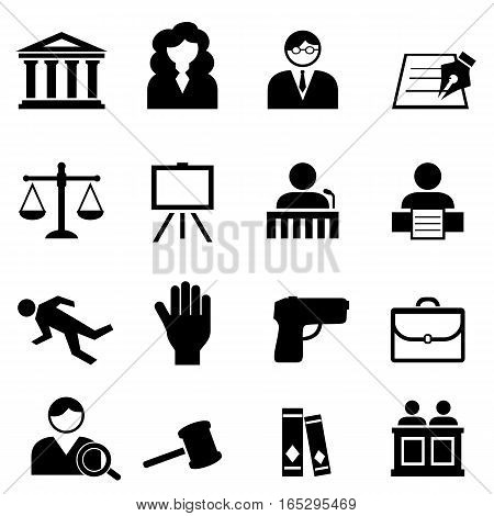 Law legal justice and court icon set