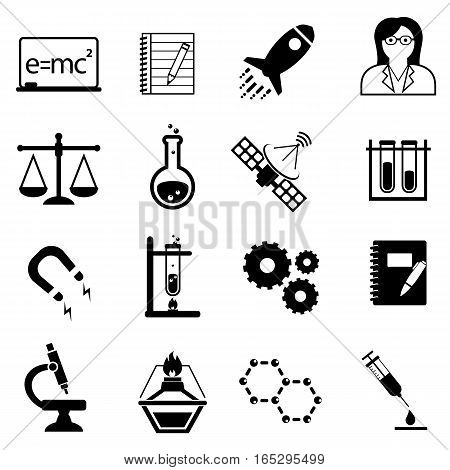 Science scientific discovery and innovation icon set