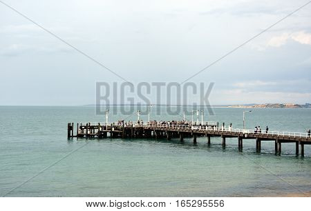 Cowes Australia - December 29 2016. Cowes Jetty Ferry on Philip Island Victoria Australia. Cowes linked to the Mornington Peninsula by a ferry service to Stony Point.