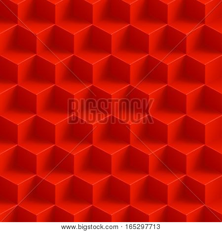 illustration of red color cubes with shadow background