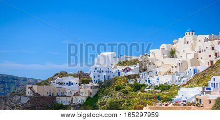 City panorama view of Santorini island, Greece