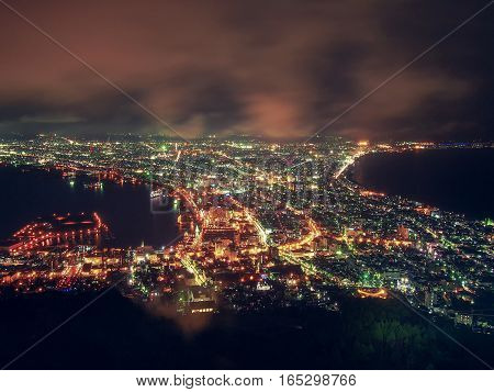 Hakodate City view from the top of mountain Hakodate at Night, Hokkaido, Japan