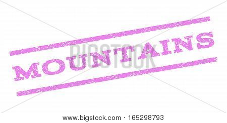 Mountains watermark stamp. Text tag between parallel lines with grunge design style. Rubber seal stamp with scratched texture. Vector violet color ink imprint on a white background.