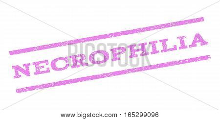 Necrophilia watermark stamp. Text tag between parallel lines with grunge design style. Rubber seal stamp with dirty texture. Vector violet color ink imprint on a white background.
