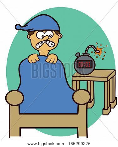 Man Wake Up with Timing Bomb Alarm Clock Cartoon Illustration