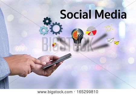 People Use  Connecting And Sharing Social Media , Digital Tablet, Social Media Concept , Social Medi