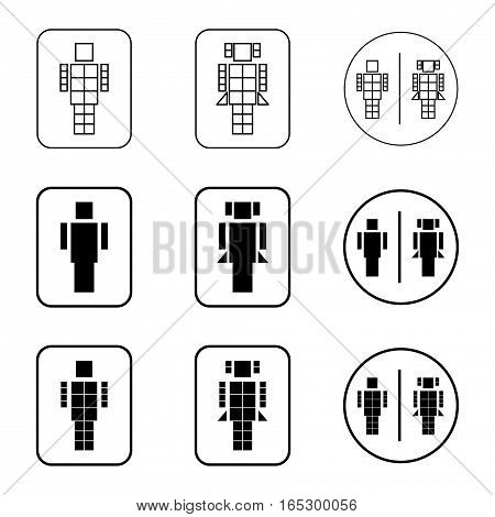 toilet robot sign icon set,vector Illustration EPS10