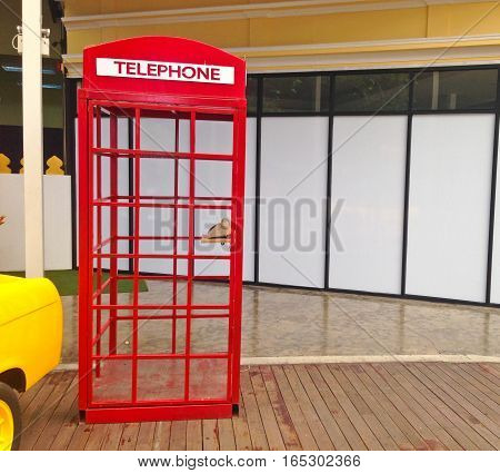 Beautiful Red telephone booth in Bangkok Thailand