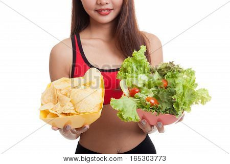 Close Up Asian Healthy Girl Salad And Potato Chips.