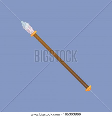 Spear vector illustration. Single decoration weapon for game on blue background. Medieval cartoon weapon for web design or mobile app.
