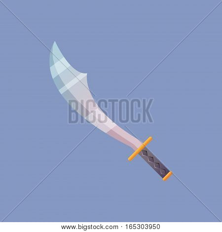 Single decoration weapon for game on blue background. Medieval cartoon weapon for web design or mobile app. Sword vector illustration